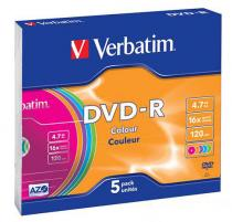 Диск DVD-R 16х Verbatim Slim Color